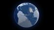 Spinning glass planet Earth on black bg- timelapse sky - looped