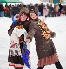 happy girls celebrating  Shrovetide