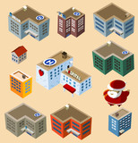 Set of Isometric Buildings.