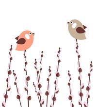 Oddziałów Pussy Willow z małymi ptaków stylizowane