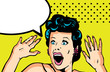 Comic Love Vector illustration of surprised woman face