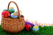 Easter egg in wicker basket
