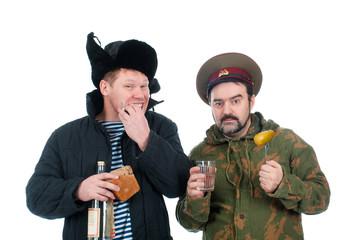 Russian soldier drinking vodka .