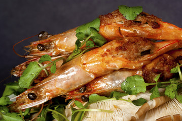 Grilled Stuffed Prawns on Bed of Asian Water Cress