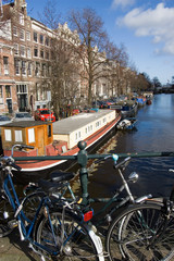 Canal seen from bridge in Amsterdam, Netherlands