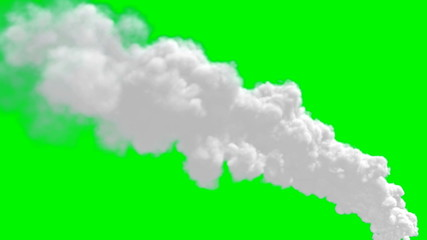 Chimney flue smoke timelapse over green screen