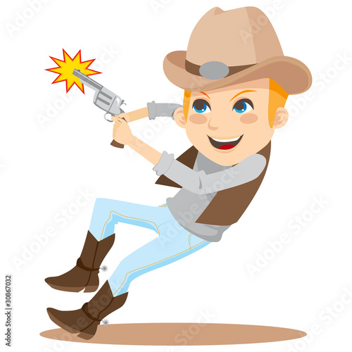 Boy shooting with revolver and wearing cowboy costume