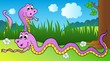 Two cartoon snakes on meadow