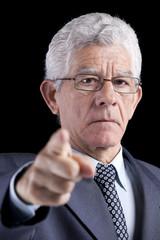Powerful businessman pointing