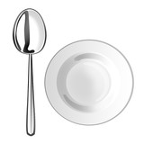 white plate with spoon isolate