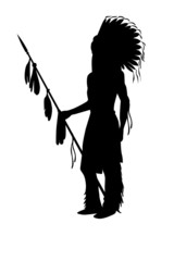 indian chief silhouette Illustration on a white
