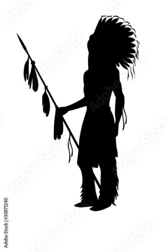 "indian chief silhouette Illustration on a white"" Stock photo and ..."