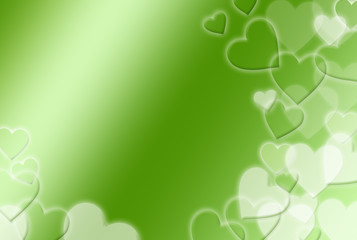 緑のハート柄背景