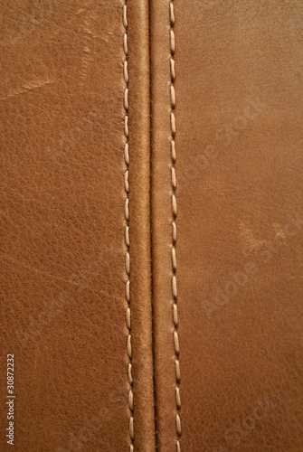 Fotobehang Leder brown leather texture with seam