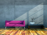 Fototapety 3d Rendering lila Sofa vor Betonwand
