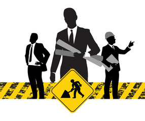 business people on a construction banner
