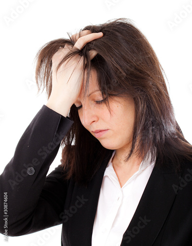 Beautiful stressed businesswoman portrait isolated on white