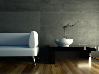 3d Rendering weißes Sofa mit Bonsai