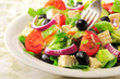 Vegetable salad with cheese, olives and tomatoes