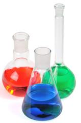 Laboratory glasware on a white background