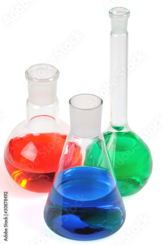 Laboratory glasware on a white background