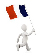 Illustration of a 3d man holding a french flag