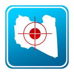 Libya map button with target sign