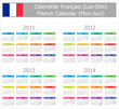 2011-2014 Type-1 French Calendar Mon-Sun