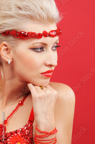 Beautiful women dream on red background