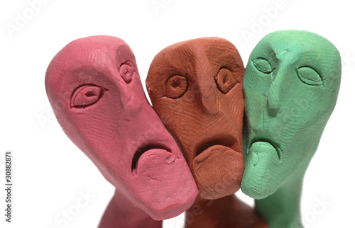men whit  ugly faces made of plasticine