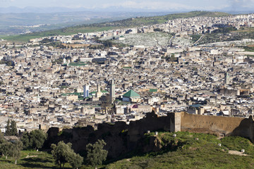 Stadtpanorama von Fes in Marokko