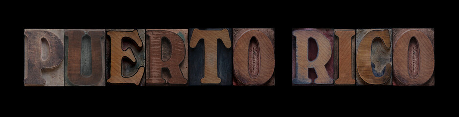Puerto Rico in old wood type