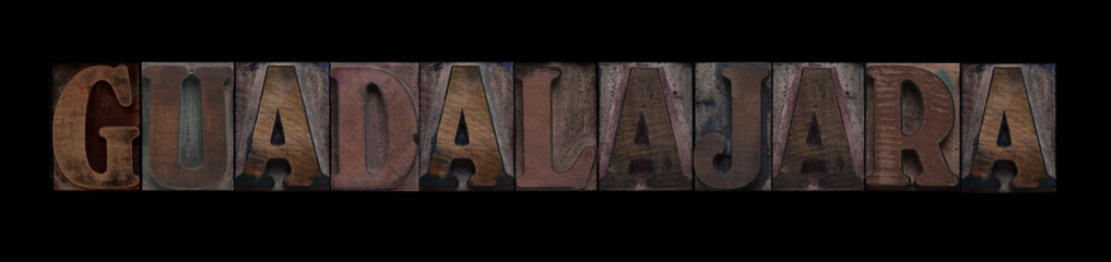 Guadalajara in old wood type