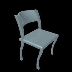 La sedia in legno azzurro - Lightblue wooden chair