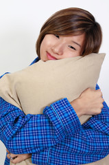 Woman Hugging Pillow