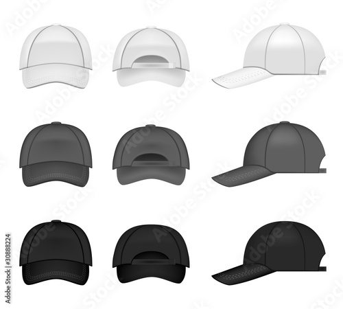 Set of baseball caps, three different colors from all angles