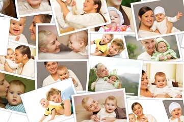 Mother with a child collage