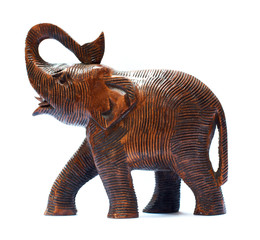 Antique Wooden Elephant isolated over white