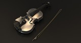 Silver Violin on black background
