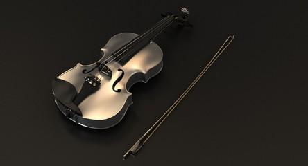 Silver Violin on black background