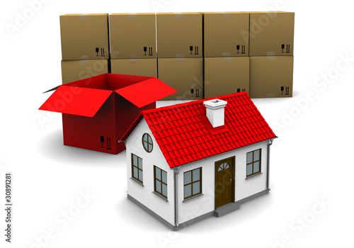 house of red cardboard box on the background of the group boxes
