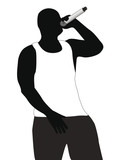 Silhouette of the rapper in a vest
