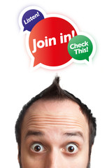 Young man with Join in mark over his head