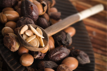 Argan fruits with spoon