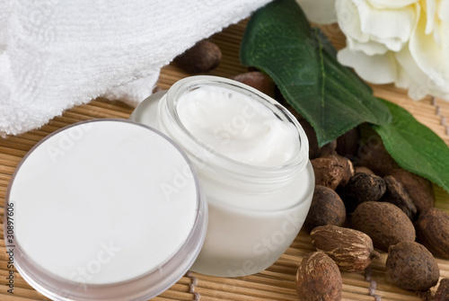 shea nuts with shea butter cream