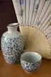 Sake set with wooden fan