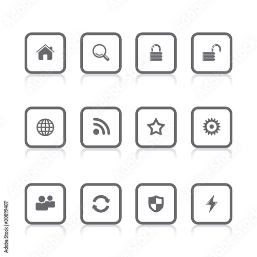 gray icons internet square