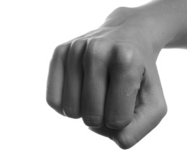 Fist in black and white