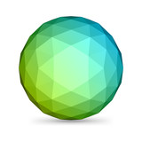 Abstract 3d origami polygonal sphere vector design element poster