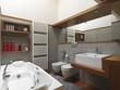 bagno moderno con vasca da bagno e sanitari sospesi